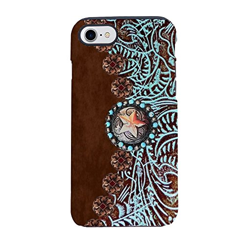 CafePress - Western Turquoise Tooled Leath iPhone 7 Tough Case - iPhone 8 / iPhone 7 Phone Case, Tough Phone Shell