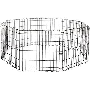 Amazon Basics – Parque de juegos y ejercicios para mascotas, paneles de valla metálica, plegable, 152,4 x 152,4 x 60,9…