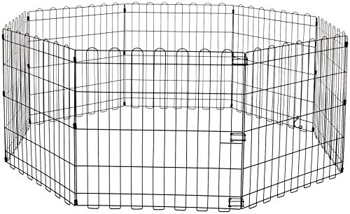 AmazonBasics Foldable Metal Pet Dog Exercise Fence Pen - 60 x 60 x 24 Inches (Dog Xl Pen)