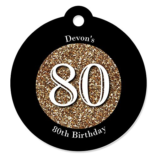 Custom Adult 80th Birthday - Gold - Personalized Birthday Party Favor Gift Tags (Set of (Personalized Birthday Favors For Adults)
