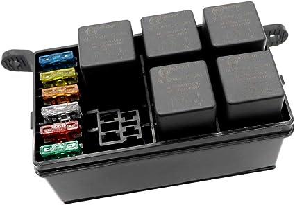 KKmoon Caja de Fusibles 6 Vías Soportes para Fusibles + 1 Rele (4P 12V) + 5 Reles (12V 40A 5P) Coche Camion Marina Barco ATV: Amazon.es: Coche y moto