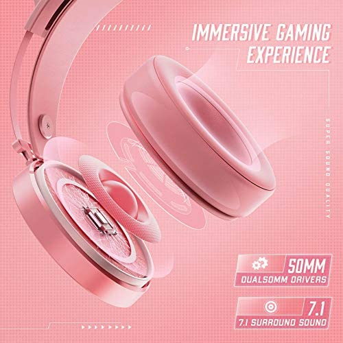 PeohZarr Pink Gaming Headset PS4 Headset Xbox One Headset, PC Headset with LED Lights, Detachable Cat Ear Headphones, Compatible with Xbox One Controller(Adapter Not Included), PS4, PS5