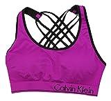Calvin Klein Basketweave Strappy Back Low Impact Sports Bra (Vivid Violet, Medium)