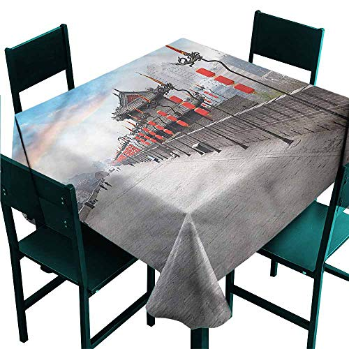 Iridescent cloud Ancient China Fitted Tablecloth Xian City at Dusk Washable Polyester - Great for Buffet Table, Parties, Holiday Dinner, Wedding & More W36 x L36