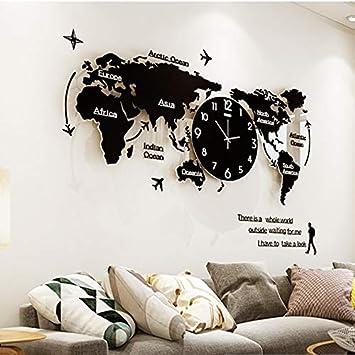 asioqw Mapa del Mundo Reloj de Pared Grande y Moderno diseño 3D Etiqueta Reloj Colorido Colgante Oscuro Solo Reloj de Pared Reloj Mudo decoración del hogar, ...