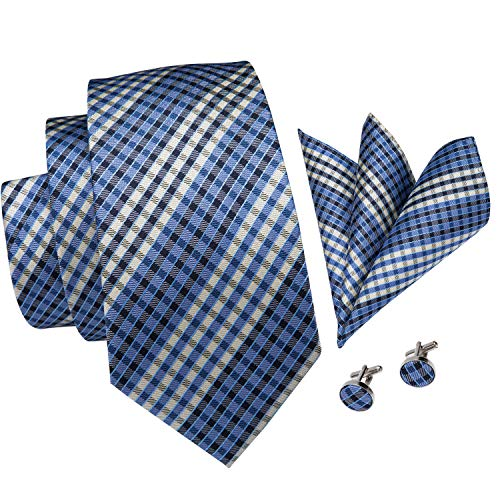 - Hi-Tie New Arrival Mens Plaid Tie Necktie Pocket Square and Cufflinks Tie Set Gift Box (blue black plaid)