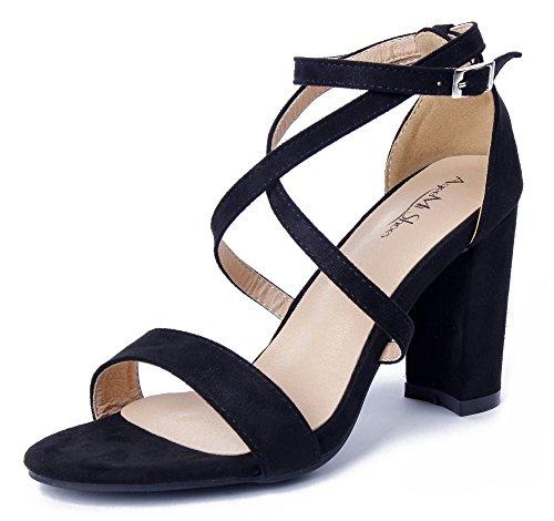 Sandali con Aperta Punta Fibbia AgeeMi Nero Tacco Donna Shoes Scarpe qTtAT8