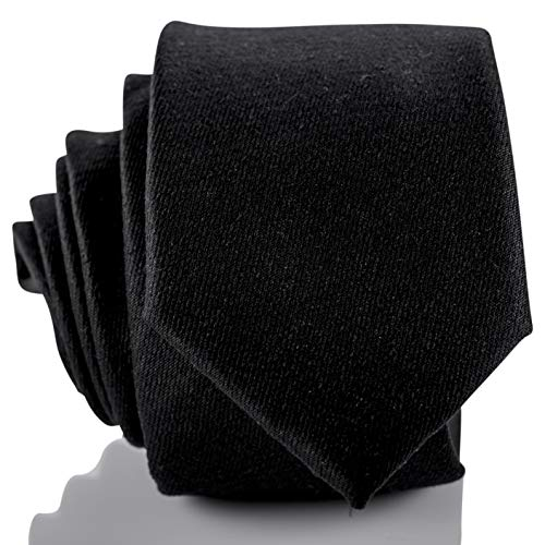 Fly & Dapper Handmade Solid Black Men's Necktie | 2.5