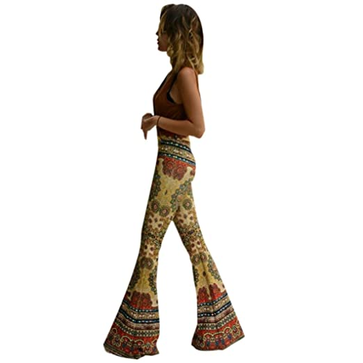 bf27671fe Prettymenny S~L Polyester Womens Ankle Length Printed Stretch Flare Pants  (S)