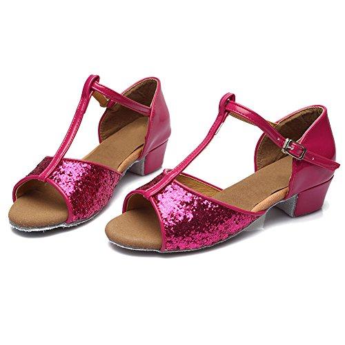 HROYL Mädchen Tanzschuhe/Latin Dance Schuhe Satin Ballsaal Modell-DS-205 Rose