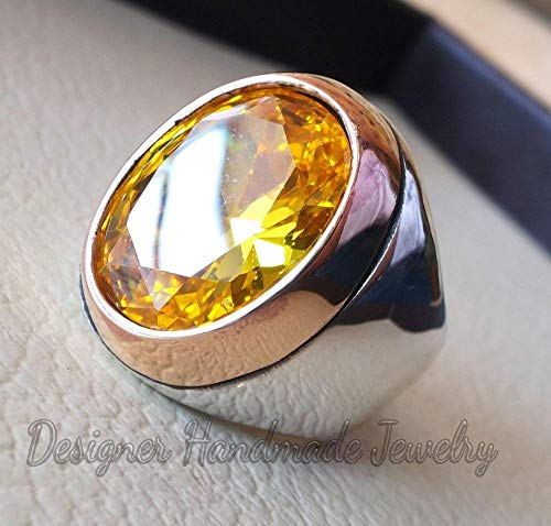 Brilliant aaa+ citrine mans ring oval gemstone ring sterling silver 925 two tone ring huge men ring jewelry ottoman style all sizes statement ring ()