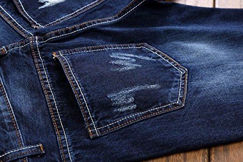 b650b2c3863f CHFYI Männer Mittlere Taille Gerade Bestickte Jeans Mode Zerrissene Jeans  Ohne Gürtel  Amazon.de  Bekleidung