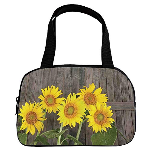 Increase Capacity Small Handbag Pink,Sunflower Decor,Helianthus Sunflowers Against Weathered Aged Fence Summer Garden Photo Print,Brown Yellow Green,for Girls,3D Print Design.6.3