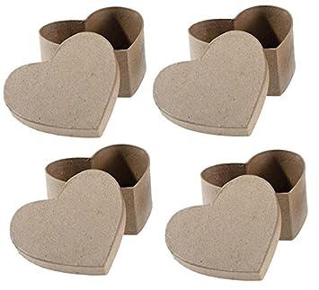 Caja de regalo de corazón de papel maché con tapa (4 unidades) perfecto cajas para regalos, manualidades de bricolaje, de una fiesta: Amazon.es: Juguetes y ...