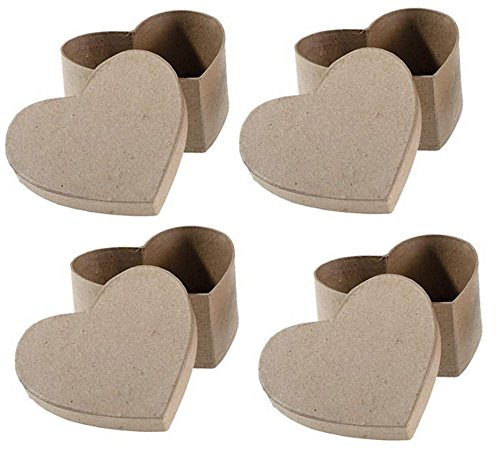 (Paper Mache Heart Gift Box With Lid (Pack of 4) Perfect Boxes for Gifts, DIY Crafting, Party Favor)