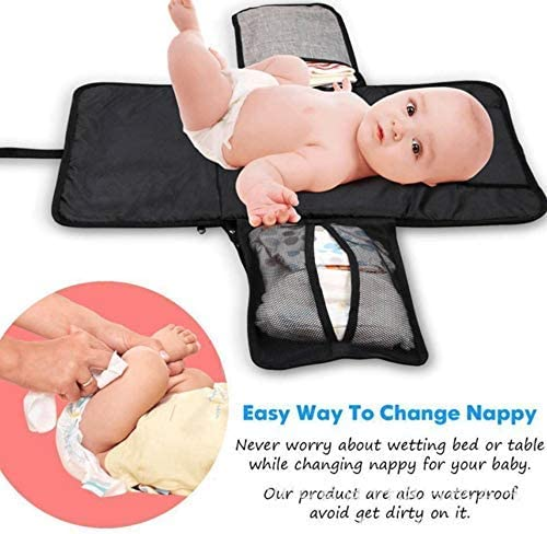 Diaper Change Station Ultimate Large Waterproof Baby Changing Mat KOKOUK Portable Changing Pad Organizer Bag Silver Folding Station Clutch Travel Carrying Bag for Baby