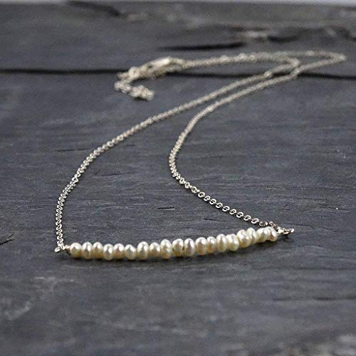 White Cultured Pearl Sterling Silver Bridal Bar Necklace 16 inches ()