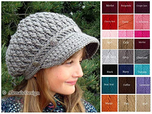 Crochet Newsboy Cap Visor Grey Hat Crocheted Slouchy Hat Unisex Christmas Gift Made in USA
