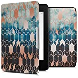 kwmobile Case for Amazon Kindle Paperwhite - Book Style PU Leather Protective e-Reader Cover Folio Case - (for 2017 and Older) Blue/Rose Gold