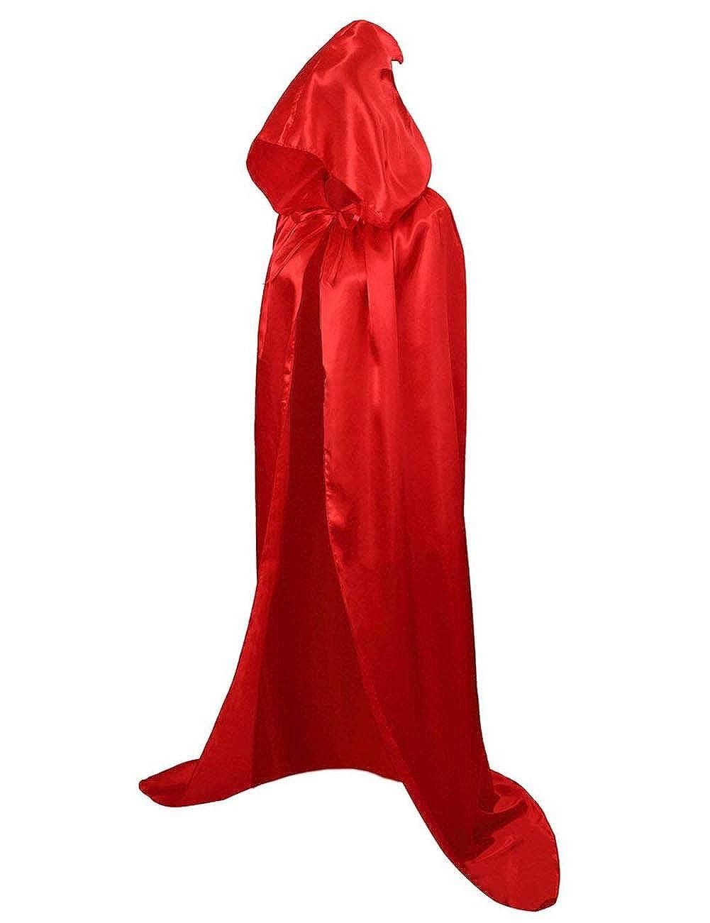 GRACIN Unisex Halloween Hooded Cloak, Full Length Robe Cape for Cosplay Costume Party Black)
