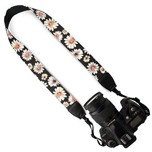 Wolven Pattern Canvas Camera Neck Shoulder Strap Belt Compatible for All DSLR/SLR/Men/Women etc, Black White Flower Floral