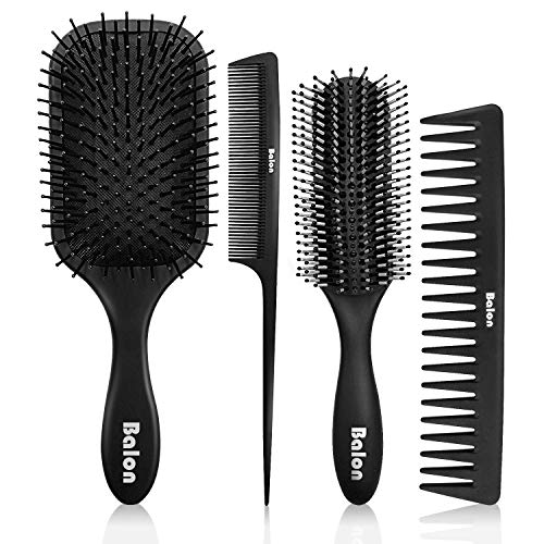 4Pcs Paddle Hair Brush, Detangling Brush and Hair Comb Set for Men and Women, Great On Wet or Dry Hair, No More Tangle Hairbrush for Long Thick Thin Curly Natural Hair (Black) (Best Comb For Women's Hair)