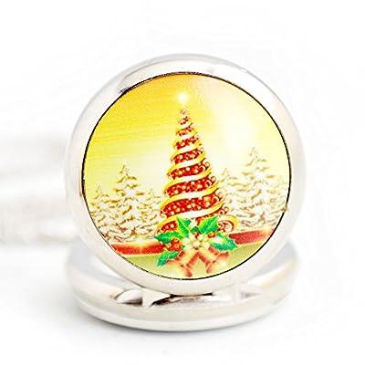 BoShiYa Christmas Mini Metal Analog Quartz Pocket Watch Pendant with Necklace Chain
