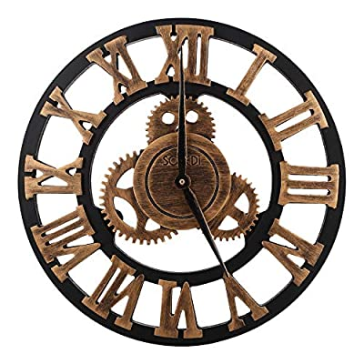 SOLEDI 12 Inch Industrial Wall Clock Handmade 3D Gear Clock Large Rustic Decorative Wall Clock European Retro Vintage Clock Wall Decor for Retro Style Living Room/Office/Bar/Restaurant Decoration - ★EXQUISITE RETRO DESIGN: 3D Roman Numerals which representative of Roman Civilization, let we feel the progress of ancient civilizations. Realistic vintage rust color. Industrial Gear which lead people back to the hot-blooded mechanized industrial age. ★QUIET MOVEMENT: Ultra-quiet quartz movement, help you to achieve a quiet sleep and learning space, to create a quiet and comfortable life. Retro aluminum pointer without the second hand design. ★BATTERY REQUIREMENT: Only need 1 AA battery. Please do not use alkaline batteries, such battery current output is high, the damage to the movement is too large and even damage the movement caused by the pointer does not work. It is recommended you to use an ordinary carbon battery. - wall-clocks, living-room-decor, living-room - 51%2Bio g8ybL. SS400  -