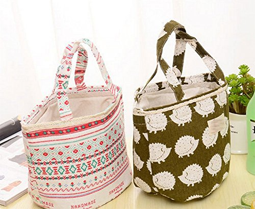 Demarkt Praktische Lunch Tasche Picknicktasche Kühltasche für Camping Picknick aus Baumwolle Leinen und Aluminiumfolie 16x16x14cm Dunkelblau Bärmuster Beige Bäumemuster