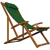 Liegestuhl Deckchair | Akazienholz | Klappbar | Atmungsaktiv | Reisebegleiter - Sonnenliege Liegestuhl Strandstuhl Stuhl Gartenliege Relaxliege - Farbwahl - Grün