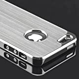 Gioiabazar Luxury Steel Aluminum W/Chrome Snapon Hard Cover Case for iPhone 5 5S 5G White