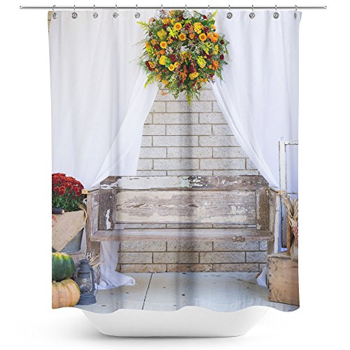 Westlake Art - Flower Pumpkin - Fabric Printed Shower Curtain - Picture Photography Waterproof Mildew Resistant Hook Bathroom - Machine Washable 71x74 inch (D3C72)