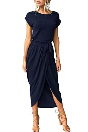 df285a304a Bolomi Womens Short Sleeve Front High Slit Summer Party Maxi Dress with Belt