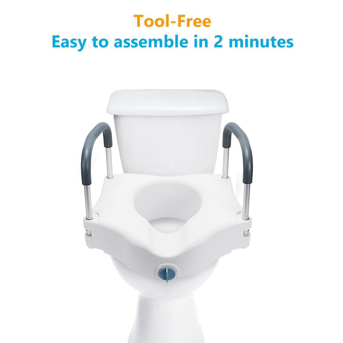 Amazon.com: OasisSpace - Asiento de inodoro elevado, con ...