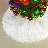 LAPOPNUT 31' Fluffy Furry Christmas Tree Skirt Xmas White Plush Floor Carpet Rug Decors Plush Skirt Base Cover Decoration Tree Skirt with Round Trim Xmas Decorations