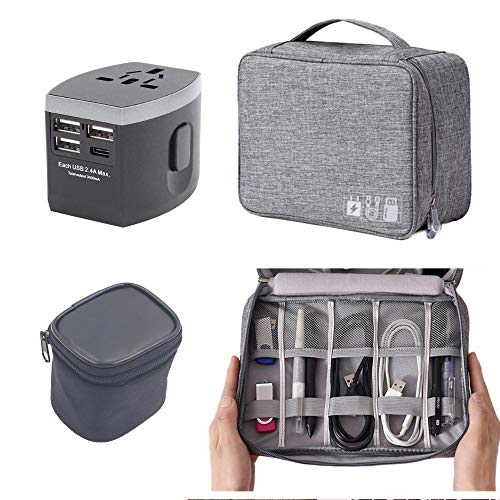 Travel Case Cord Organizer Bag and Black Universal International Travel Power Adapter Universal Electronics Accessories Travel Case Bundle | European, Worldwide AC Outlet Plugs Adapters for Europe, UK -