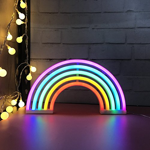 AES US Neon Signs,Rainbow Neon Light Sign Shaped Night Light Wall Decor for Chistmas,Birthday party,Kids Room, Living Room, Wedding Party Decor(Rainbow) by AES US (Image #1)'