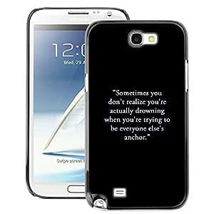 A-type Arte & diseño plástico duro Fundas Cover Cubre Hard Case Cover para Samsung Note 2 N7100 (Inspirational Motivational Text Black)