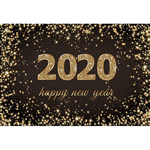 OFILA 2020 Happy New Year Backdrop 5x3ft Polyester Fabric New Year Eve Party Photos Background Glitters Bokeh Background New Year Photo Booth New Year Events Decor Props