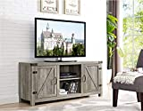 Home Accent Furnishings New 58 Inch Side Barn Door Television Stand - Grey Wash Finish