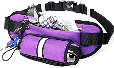 aiycome Adjustable Waist Bag with Water Bottle Holder Hydration Waist Pack Fits Phones Ultra Light Slim Running Pouch Belt Workout Exercise Running Fanny Pack for Womens Mens