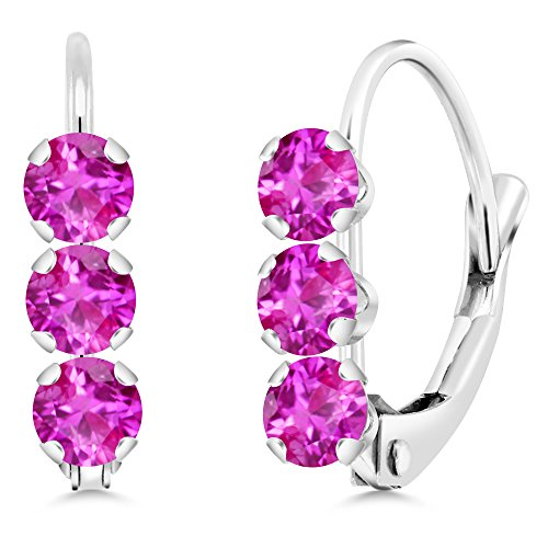 Leverback Pink Sapphire Earrings (14K White Gold 0.78 Ct Round Pink Sapphire Leverback Earrings)