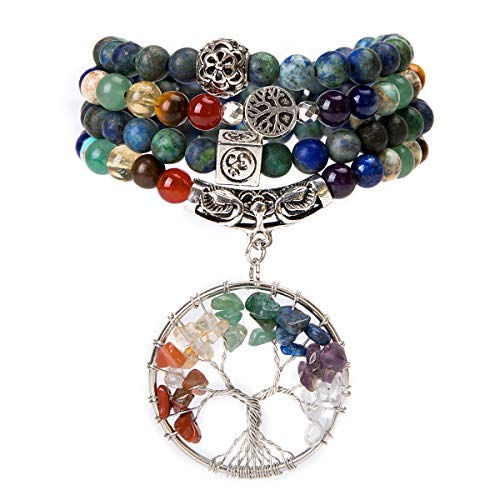 Bivei 108 Mala Beads Bracelet - 7 Chakra Tree of Life Real Healing Gemstone Yoga Meditation Mala Prayer Bead Necklace(Azurite Malachite) Citrine Tigers Eye Necklace