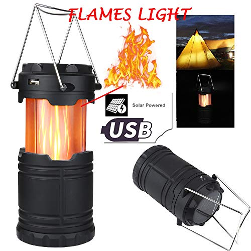 Beyonds Camping Lantern - Collapsible Cool Flame Outdoor Solar Camp Lamp/LED Camp Light, for Hiking Tent Garden, Waterproof Tent Lamp, Fishing Lights, Portable Handheld Flashlight