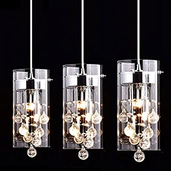 CLAXY Ecopower Lighting Glass U0026 Crystal Pendant Lighting Modern Chandelier  For Kitchen 3 Lights