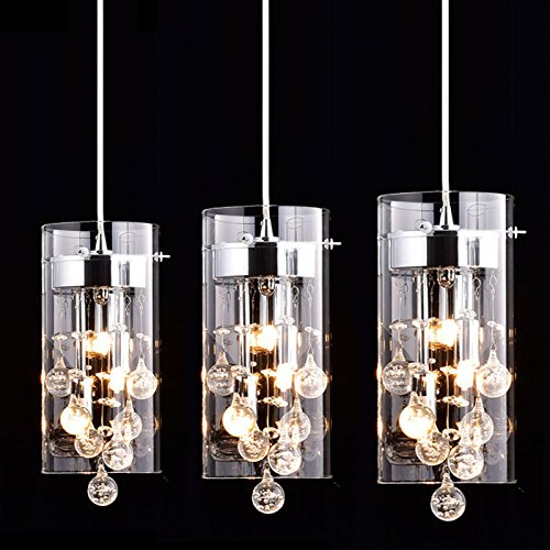 CLAXY Ecopower Lighting Glass & Crystal Pendant Lighting Modern Chandelier for Kitchen-3 Lights (Island Kitchen Lighting)