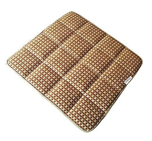 (DGQ Summer Cool Bamboo Charcoal Breathable Cream Knitted Straw Seat Cushion Straw Cover Chair Pad Mat Deodorizer - Home Office Car Chair Cushion Pad)