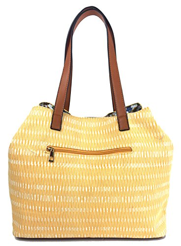 Shopper Handles Yellow Print Designer in SURF Canvas Tote Zips Waves with Beach Colours Bag and Glitter Bag Straw Expanding Waves Summer Comfortable Soft Canvas Bag Large with Summer Lovely in qf7Bwzpf