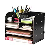 Wood Desk-Top Storage OrganizerCounter Desktop Sorter Square Makeup Stationary DIY Desk Tidy Storage Cabinet Bookcases Document Magazine Display Rack Files Holders for Home OfficeHome