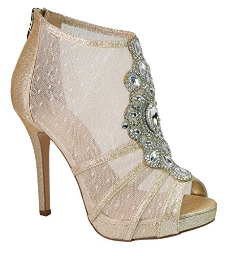 Marna Crystal Bow Embellished Vamp Mesh Bootie Style High Heel Peep-Toe Prom Dress Shoes Nude 7 (Prom Shoe Shimmer Ladies Evening)
